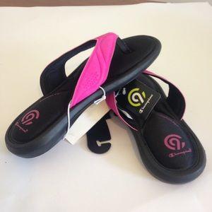 Girls/' Marguerite Sport Memory Foam Flip Flop Sandals C9 Champion Pink